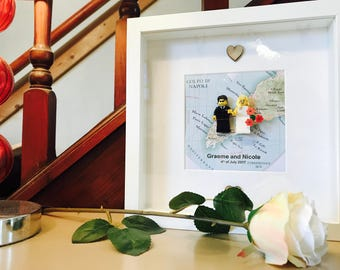 Lego® wedding gift frame with map. Customable!!