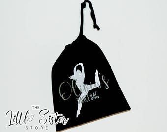 Pesonalised Glitter, Black  Drawstring  Dance Bag