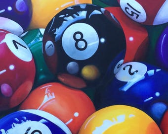 Pool Balls, Large original acrylic painting modern billiards sports contemporary wall art by Jane Palmer