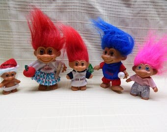 Troll Dolls 5 Sold Individually Baby Santa, Teacher, Red Sox, Cubs and Pink Hair Different Sizes Vintage Clean and in Good Condition