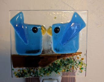 Kissing Blue Birds Handmade Fused Glass Night Light