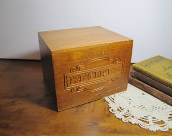 Large Wooden Recipe Box - Carved Front