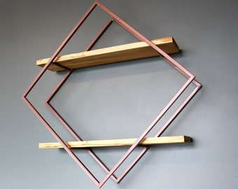 Modern Style Diamond Shelves, Spalted Maple with Steel Frame in Pink, Ships from Detroit, MI
