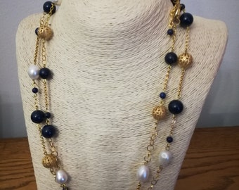 Necklace with hard stones lapis lazuli, pearls and blue Agate