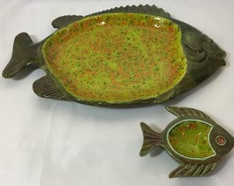 Hand Made Glazed Pottery Art Decorative Fish Platter,  signed Lillian