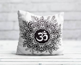 Buddha Pillow Cover Om Cushion Cover Zen Lotus Flower PillowCase Decorative Throw Pillow Cover Silk Pillow Satin Luxury Decor Birthday Gift