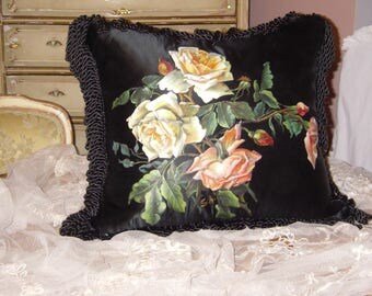 SALE~Antique~1900's Victorian French ROSES Painting ~ Hand Painted Pink~Yellow Roses on SILK ~ Pillow ~ After Catherine Klein