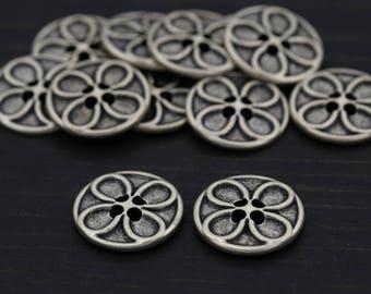 """Flat Silver Metal Button/ 4pcs/ Age of Aquarius/ Flower Button/ 4 Button/ 20mm 32L 13/16"""" BL086"""