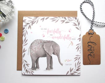 You are fearfully and wonderfully made - Psalm 139:14 - Elephant - Dedication Card - New Baby Card - Baptism Card - Christian Cards (GC27E)