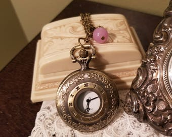 Pocket Watch Necklace, Clock necklace, Working Watch Necklace, Pink/Lavender Bead, Rose, Long Watch Necklace, MarjorieMae