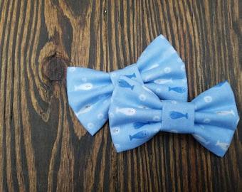 Blue fishies hair clip headband bow tie
