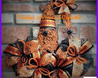 Witch Hat Wreath, Spider, Pumpkin, Velvet, Witches Hat Door Hanger, Halloween Decor, Halloween Wreath, Mesh Witch Hat, Storm Door wreath