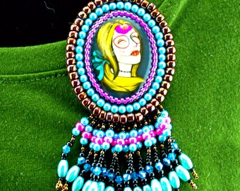 Day of the Dead beaded cabochon Pin