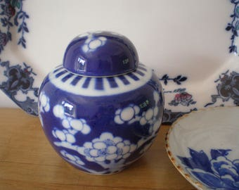 Beautiful Vintage Blue and White Chinese Ginger Jar with Lid Prunus/Plum Blossom Pattern Oriental Decor
