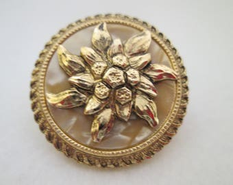 Vintage Western Germany Scarf Clip Edelweiss Flower Mother of Pearl Gold Tone Metal