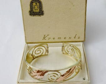 Vintage Openwork Cuff Bracelet - Yellow & Rose Gold Plated