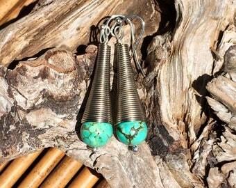 Turquoise bohemian drop earrings