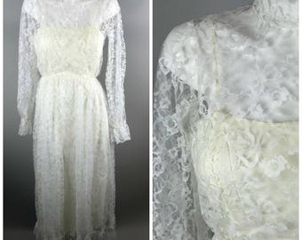 Vintage 1960s Alfredo Angelo White Lace Bridal Gown High Neck Dress Wedding Prom