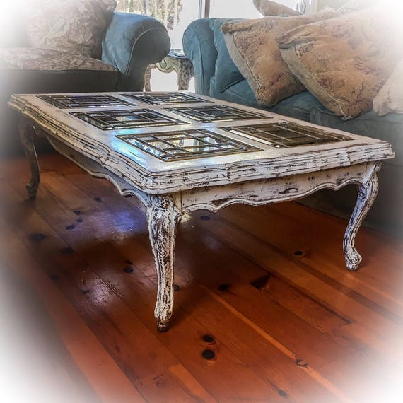 French Riviera Coffee Table Book: SOLD Matching French Glass Top Coffee Table & Antique Sofa