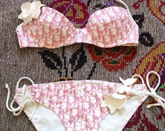 Rare Christian Dior pink & white iconic monogram two piece swimsuit bathing suit / small top FR 85B UK 34B US 32B