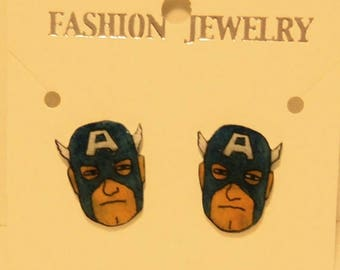 Captain America shrinky dink earrings
