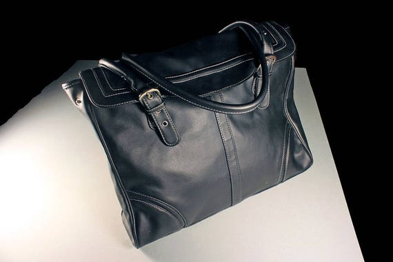 Black Tote Bag, Handbag, Shoulder, Faux Leather, Zippered Side Compartment, Large Bag, Faux Leather, Phone Pocket, Carry All, Silver Buckles