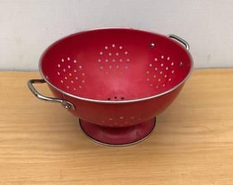 Old colander enamelled Metal red + handles chrome Vintage 50s