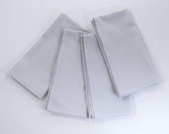 Light gray napkins, dinner napkins, cloth table napkins, wedding linens, solid color napkins, neutral cotton fabric, size 18x18