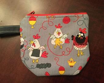 Zip Notion Bag, knitting chicken