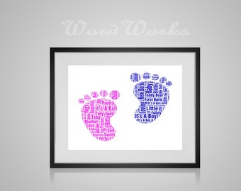 "Personalised New Baby Feet Word Art Design  **Buy 3 prints get the 4th FREE**  Use coupon code "" MYFREEONE """