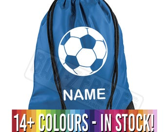 Personalised Name Football Soccer Drawstring Bag | Backpack School PE Gym Sport Gift | Splash Proof | Free Delivery to UK Customers