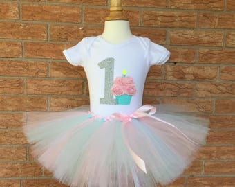 First birthday girls outfit, smash cake outfit, first birthday tutu, 1st birthday shirt, one year old birthday set, first birthday shirt