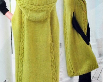 Knitted long hooded poncho / custom made