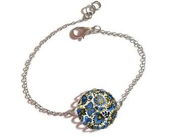 Bracelet fine silver with 18 mm cabochon * flowers * (010118)