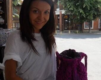 Macrame Purse, Vintage Crochet Handbag, Hippie Purse, Bohemian Purse, Beach Bag, Sac à main hippie, Macrame Purse