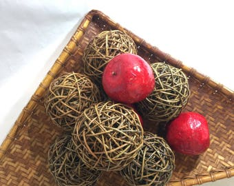 Grapevine Twig Balls and Faux Fake Red Apples Fruit Vintage Handmade Spheres Home Decor Fall Decor Dried Grape Vines Farmhouse Photo Prop