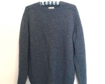 Nordstrom Vintage Blue Guernsey Style Unisex Fisherman Sweater Classic Traditional Wool Made in England Size Large