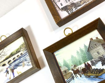 Wood Picture Frames with Brass Hook Loops for Hanging Dark Wooden Trio Set Winter Scenes Vintage Farmhouse 1970s Decor