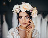 Boho wedding hair wreath Bridal accessories Peach flower crown Floral crown  Wedding accessories Magaela Handmade