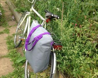 Waterproof Bicycle pannier bag & shoulder tote - kordura (with cross body strap)