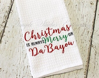 Christmas on the Bayou Kitchen Tea Towel