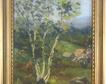 Vintage Signed Original Oil Painting Landscape By Listed New England Artist Bertha Corson Day Bates