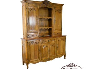Antique 19th Century French Country Style Walnut Hutch Top Sideboard