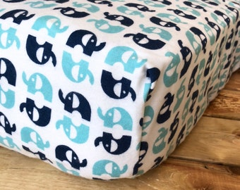 Fitted Crib Sheet - Changing Pad Cover - Blue Elephants on White Organic Cotton
