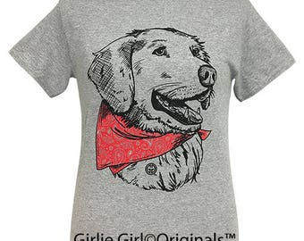 Girlie Girl Originals Paisley Bandana Retriever Sport Grey Short Sleeve T-Shirt