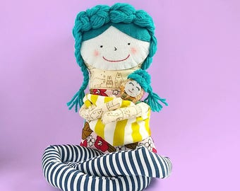Rag Doll, Art Doll, Soft Doll, Rag Doll Carrying baby, Mama and baby doll,