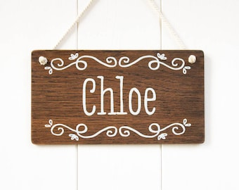 Kids Name Door Sign. Personalized Girls Room Decor. Custom Plaque. Bedroom Nursery Sign. Unisex Kids Door Sign