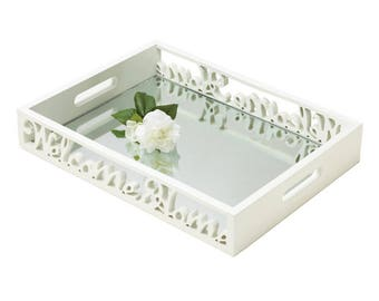 Chic White Wood Carved Script Welcome Home Mirror Tray