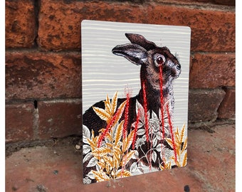 Hare Animal Woodland Creature Wilf Life Country Enamel Metal TIN SIGN Wall Plaque