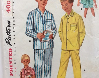 Simplicity 1434 vintage 1950's boy's pajamas sewing pattern size 4 or size 14